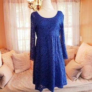 Gianni Bini Royal Blue Strappy Back Lace Dress